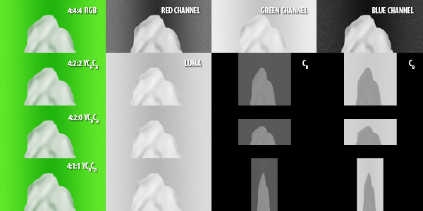 Various chroma subsampling methods