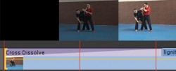 Cross-fade transition applied at the beginning of a single clip. It is the proper way to fade the clip from or to black.