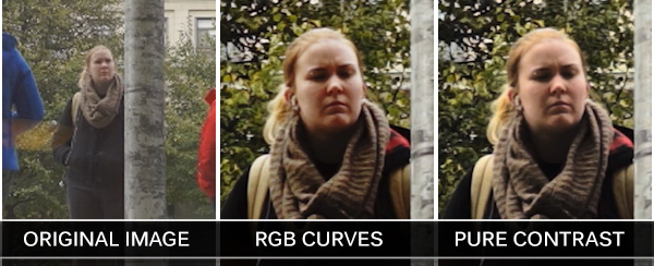 Comparison of the results of adding contrast with RGB curves and Pure Contrast plugin.