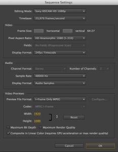 Weird sequence settings after adding codec information to Hiero XML.