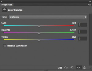 Properties panel for the Color Balance adjustment layer in Photoshop