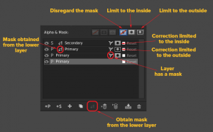 Detailed explanation of the mask controls in SpeedGrade layer stack.