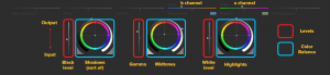 SpeedGrade Primary correction controls explained in terms of Photoshop Colour Balance and Levels.