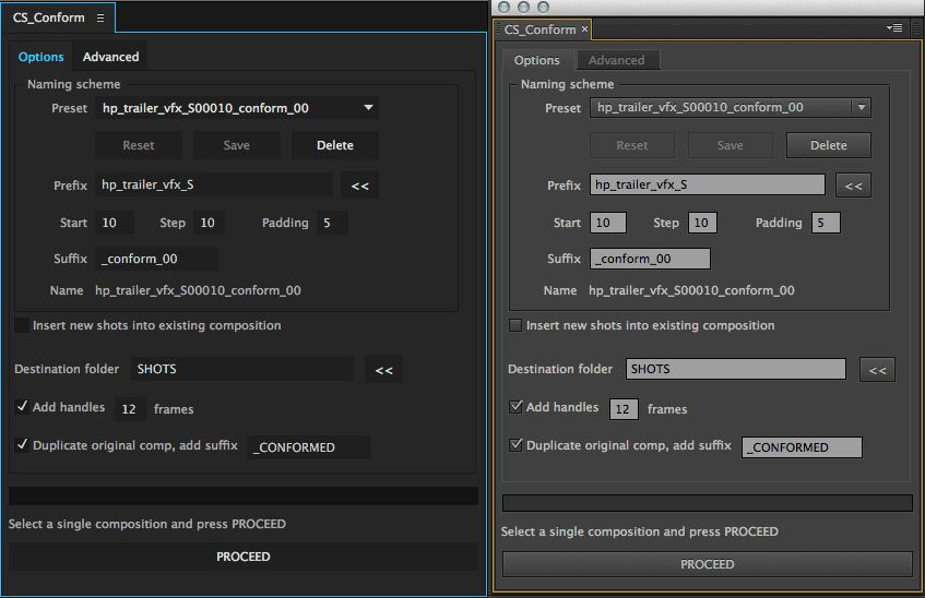Text fields, drop-down menus and buttons look almost the same in After Effects.