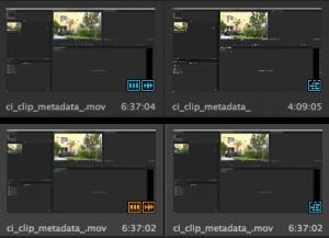 The sequence and media icons in the thumbnail view in Premiere now are very hard to discern at first sight. Right now there are only two colors in the interface: blue and light gray.