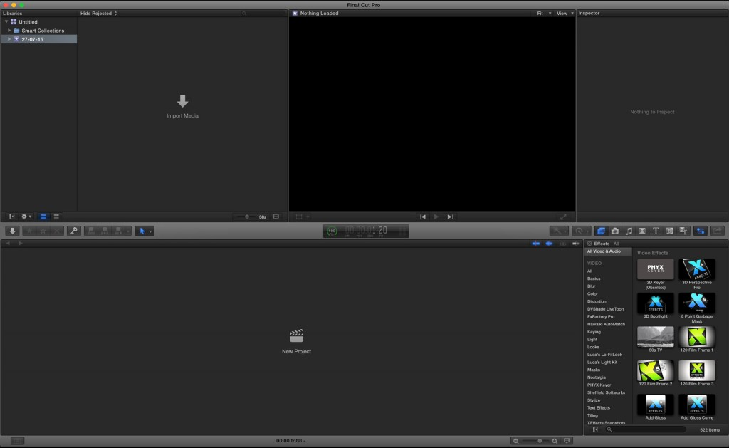 Final Cut Pro X interface - quite a lot of chrome and colour.