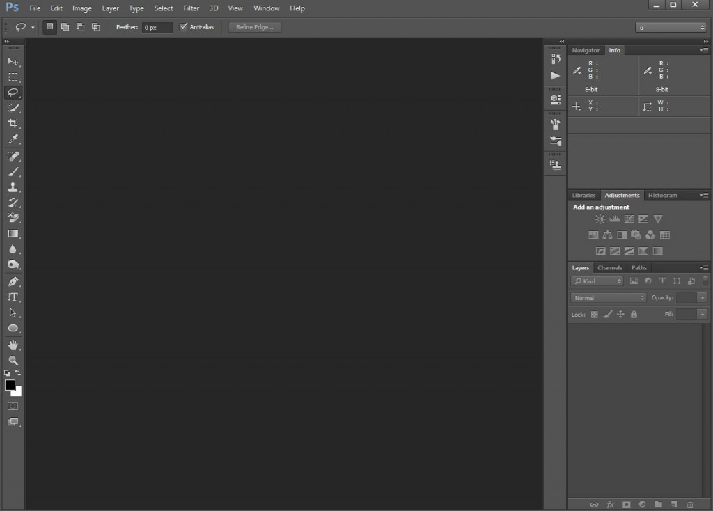 Photoshop - monochromatic interface with a lot of detailed, readable icons.