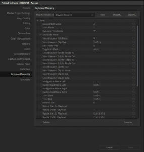 Keyboard Shortcuts editor - this is the screen which you will become familiar if you intend to improve your own editing experience in Resolve.