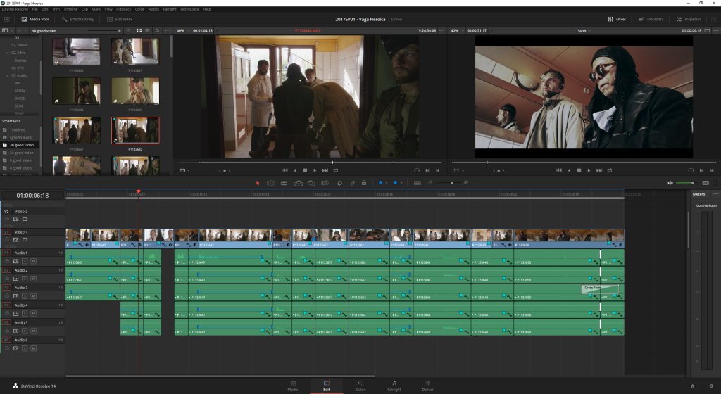 Editing a rough cut. Working with multiple audio channels could be improved.