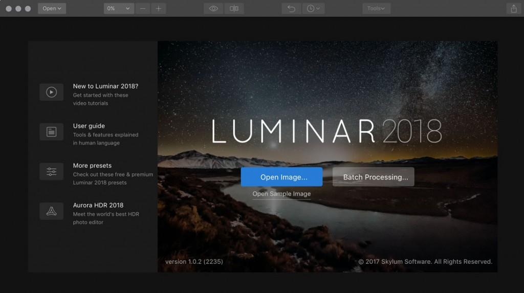 Luminar welcome screen